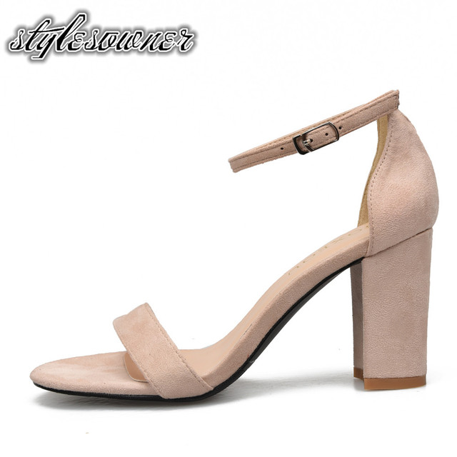 59fea1517571 Stylesowner Top Selling Open Toe Flock Nude Black Color Woman Sandals  Mature Shallow Party Shoes Sandals High Heels Sandals