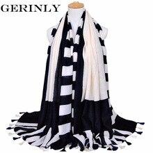 GERINLY Women Scarf Geometric Print Tassel Shawls Cotton Winter Scarfs New Designer Blanket Scarf Luxury Brand Ladies Scarves