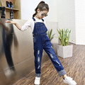 2016 Autumn Girls Infant Jeans Overalls Pattern Denim Pocket Jumpsuit Bib Pants Children's Jeans Clothes Baby Kids Overalls