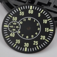 Watch Parts, 38.5mm Black Sterile Watch Dial Green Luminous Dials Fit for ETA 6497 Seagull ST3600 Movement for DIY Watch CD164BK