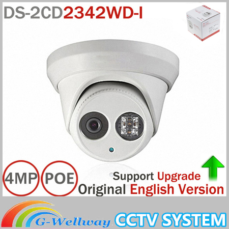 Hik Original English Version DS-2CD2342WD-I 4MP WDR EXIR Turret Network Camera MINI Dome IP Camera CCTV Camera hikvision cctv poe 4mp camera ds 2cd3345 i hd night version onvif exir turret wdr dome ip security camera replace ds 2cd2345 i