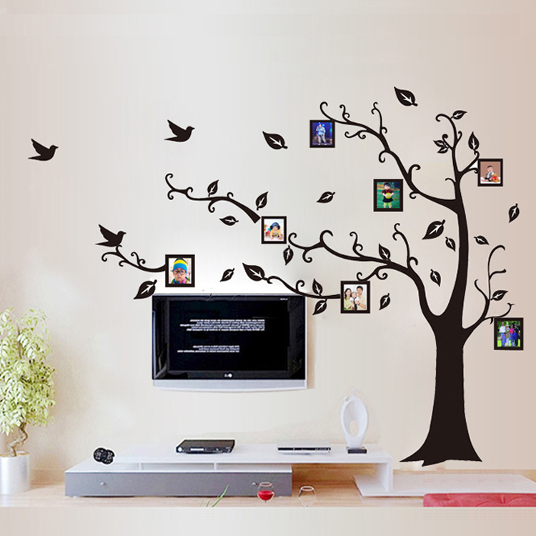 1 set 6487 inch large size black photo frame family tree removable pvc wall stickers for living room art home decor lm8010