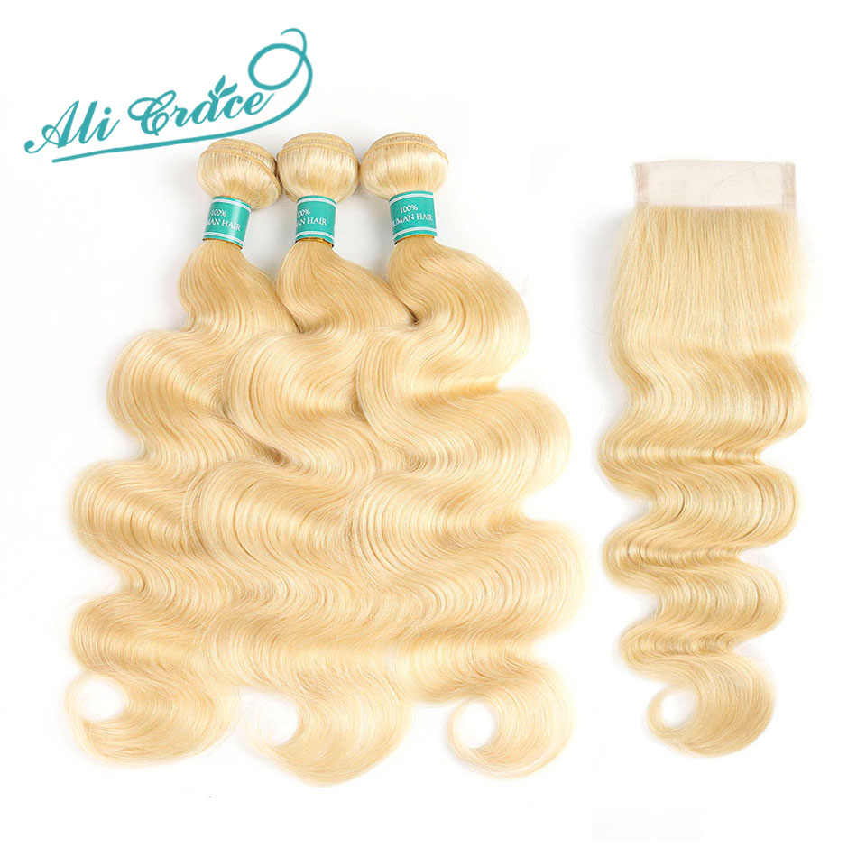 Ali Grace Hair Blonde Body Wave 3 Bundles With Closure 100% Remy Human Hair Body Wave Hair With Closure 613 Full Blonde