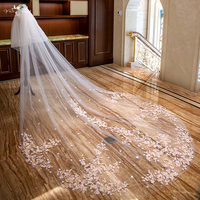 LZP299 Ivory Bridal Veil Real Pictures Two Layer Cathedral Wedding Veil Pink Applique Flowers Wedding Veil
