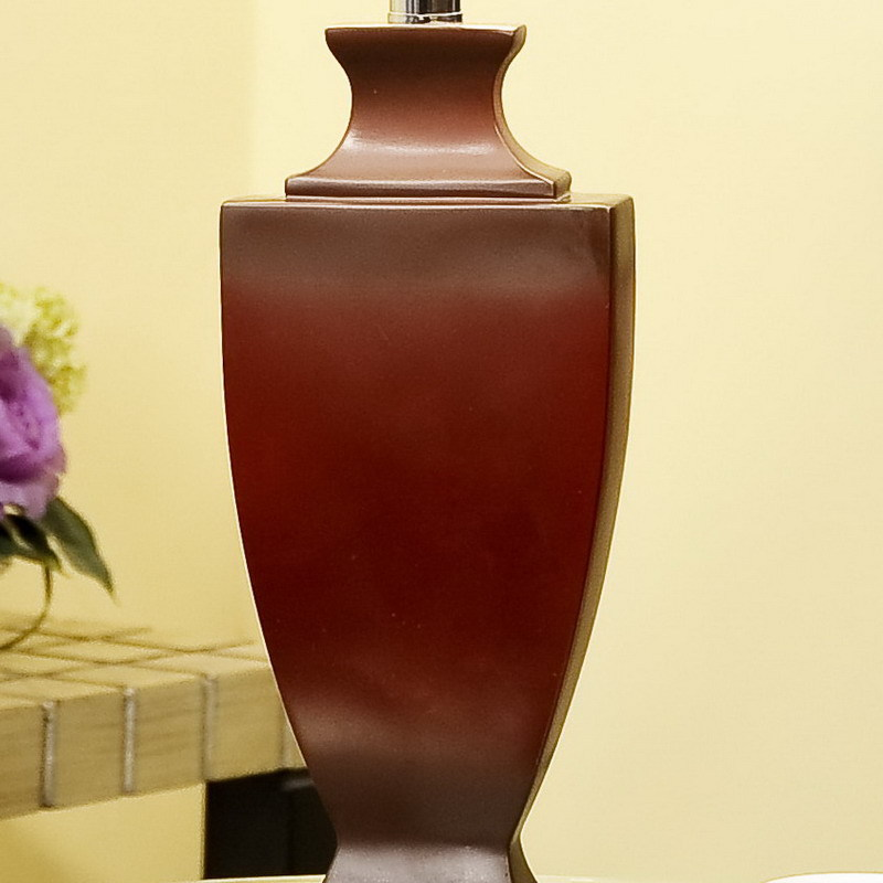TUDA 36X65cm Free Shipping Large Table Lamp Fashion Red Cloth Lampshade Table Lamp Vintage Style Resin Table Lamp E27 110V/220V