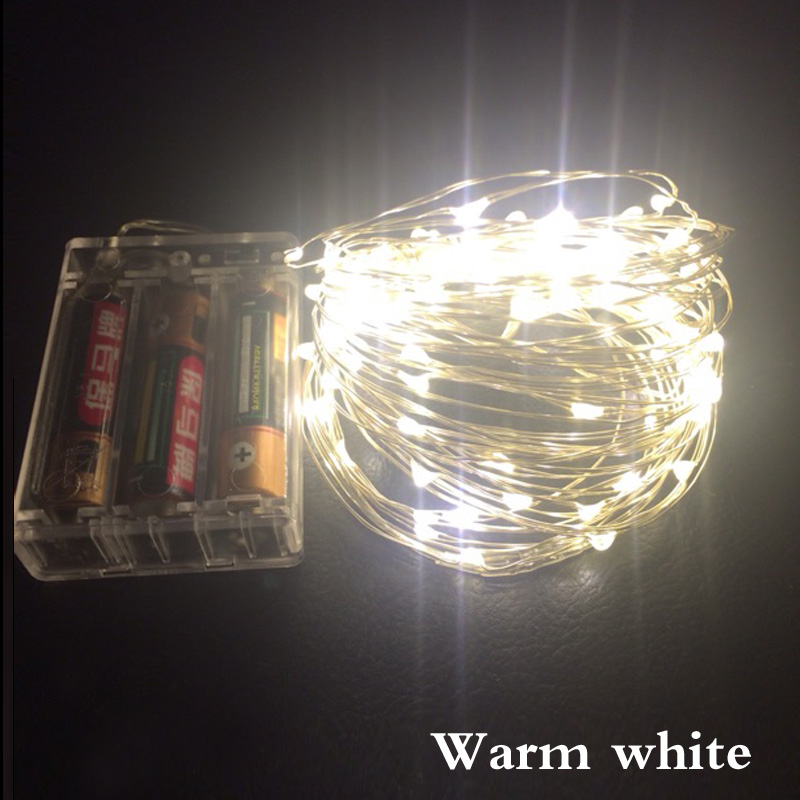 5M 50 LED/10M 100 LED battery waterproof led copper wire string lights christmas festival wedding party decoration garland strip