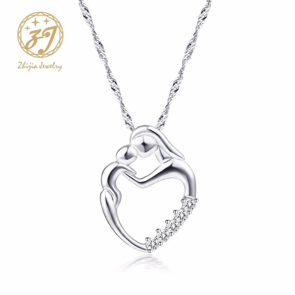 Nueva llegada regalos de moda plata mosaico collar de circón madre y - Bisutería - foto 1