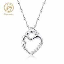 Новые прибытия Мода подарки Серебряная мозаика циркон ожерелье мама и ребенок рука об руку Сердце формы ожерелье для Дня матери