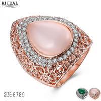 KITEAL Nowa Sprzedaż wzrosła złoty zielony Różowy rozmiar 6 7 8 9 strona pierścień dla kobiet hollow out kryształ opal bague pływające charms
