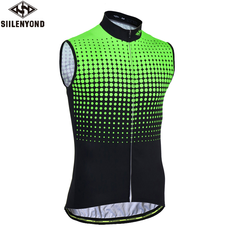 Siilenyond Flour Green Sleeveless Cycling Vest Summer Breathable MTB Bicycle Cycling Clothing Men's Racing Bike Clothes
