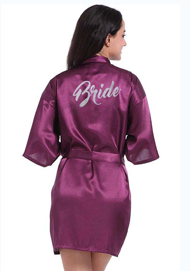 PDTY 01 Silver Writing Bridal Wedding Robes Bride Bridesmaid Maid of Honor Women Party Robe Custom Name and Date Get Ready Robe