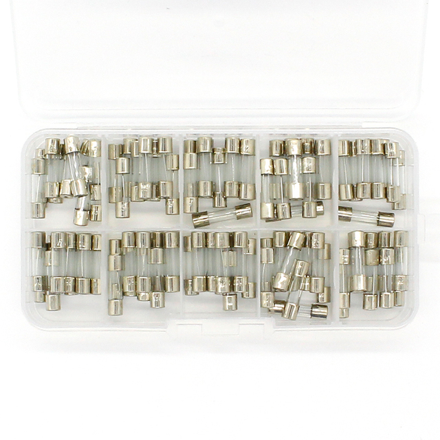 Promotion! 100Pcs Set 5x20mm Quick Blow Glass Tube Fuse Assorted Kits,Fast-blow Glass Fuses
