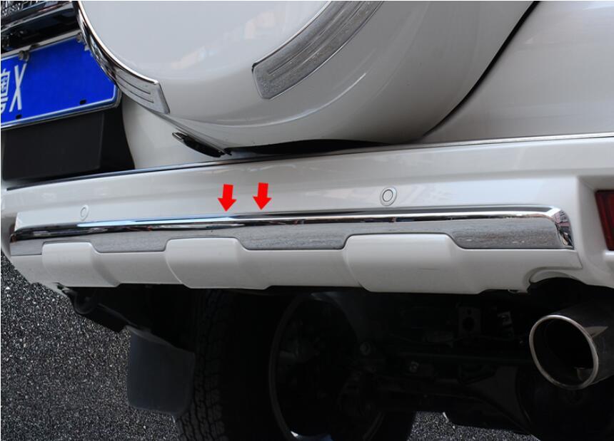 ABS Chrome жемчужно белый и черный низ Хвост заднего бампера Защитная Крышка отделкой для Toyota Land Cruiser Prado FJ150 2010 2017