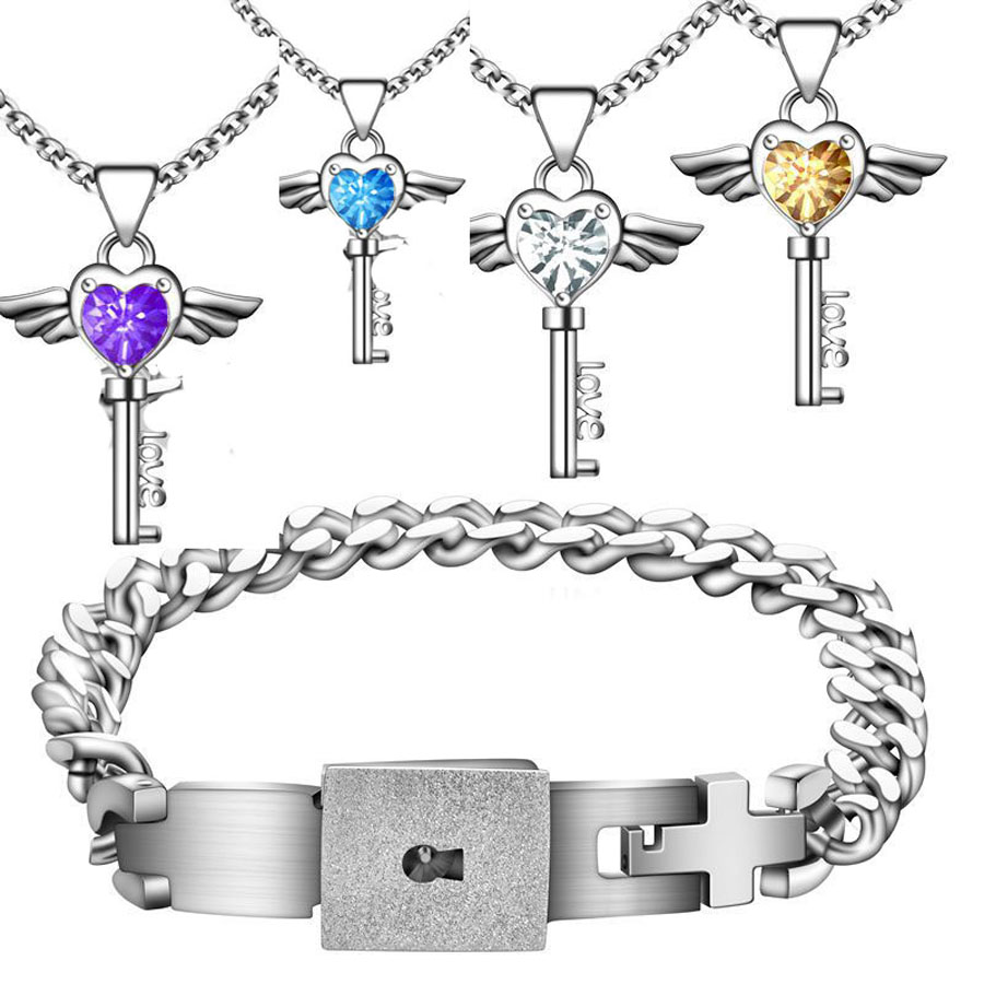 Aliexpress Anium Steel Concentric Lock Bracelets Bangle Blue Purple Angle Stone Key Pendant Necklace Jewelry Set Engagement Gift From