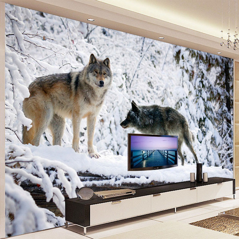 3D Wallpaper Modern Simple Animal Wolf Snow Landscape Photo Mural Living Room TV Sofa Backdrop Wall Painting Papier Peint Enfant