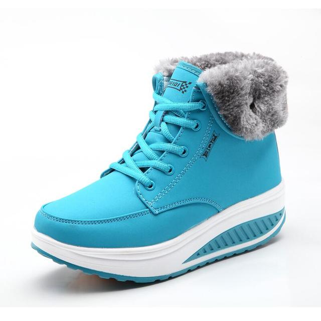 Mulheres botas de neve de inverno além de veludo vermelho amarelo ladies balanço base grossa botas femininas de algodão-acolchoado tornozelo dedo do pé redondo botas sapatos