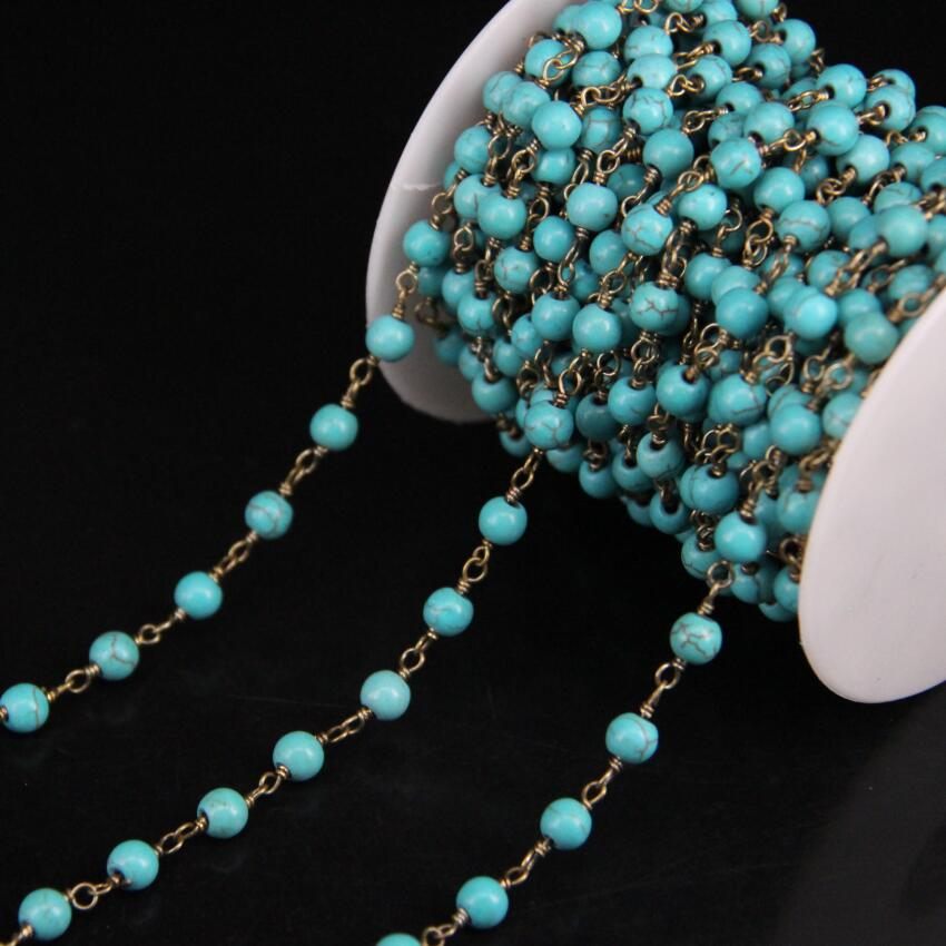 5Meter/lot,6mm Blue Turquoises Round bead Chain,Turquoises Link Brass Wire Wrapped Rosary Chain DIY Necklace Jewelry 5meters 6mm cross gold copper wire wrapped multi color turquoises round howlite rosary chains crafts bracelet necklace bulk bh12