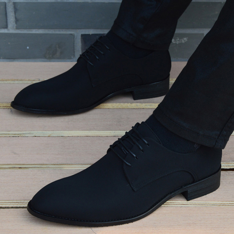 Hot Spring Men Shoes High Quality Black Pointed Toe Dress Shoes Flat Breathable Lace Up Business Men Shoes Casual Zapatos Hombre