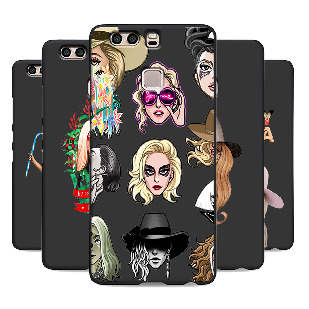 lady gaga soft Silicone black cover phone case for huawei p8 p9 p10 lite p20 pro mate 10 lite High Quality UV print bag