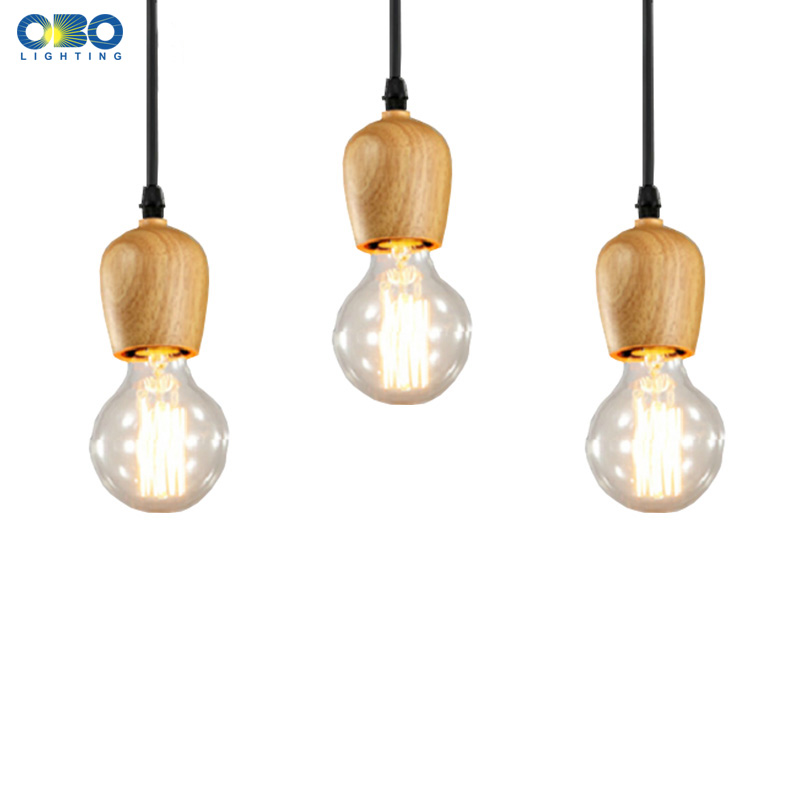 Modern Wood Simple Pendant Lamp Dining/Room/Foyer/Coffee House Indoor Lighting E27 Lamp Holder 110-240V Free Shipping