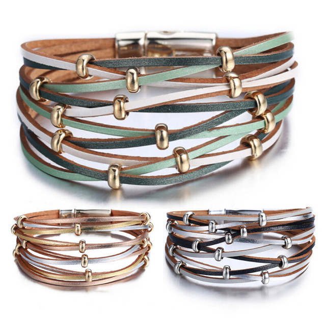 42996efa470 Multi-Layer Leather Bracelet Braided Cuff Bangle Alloy Magnetic Clasp  Jewelry Handmade Star Rope Wrap Bracelets Women Gift