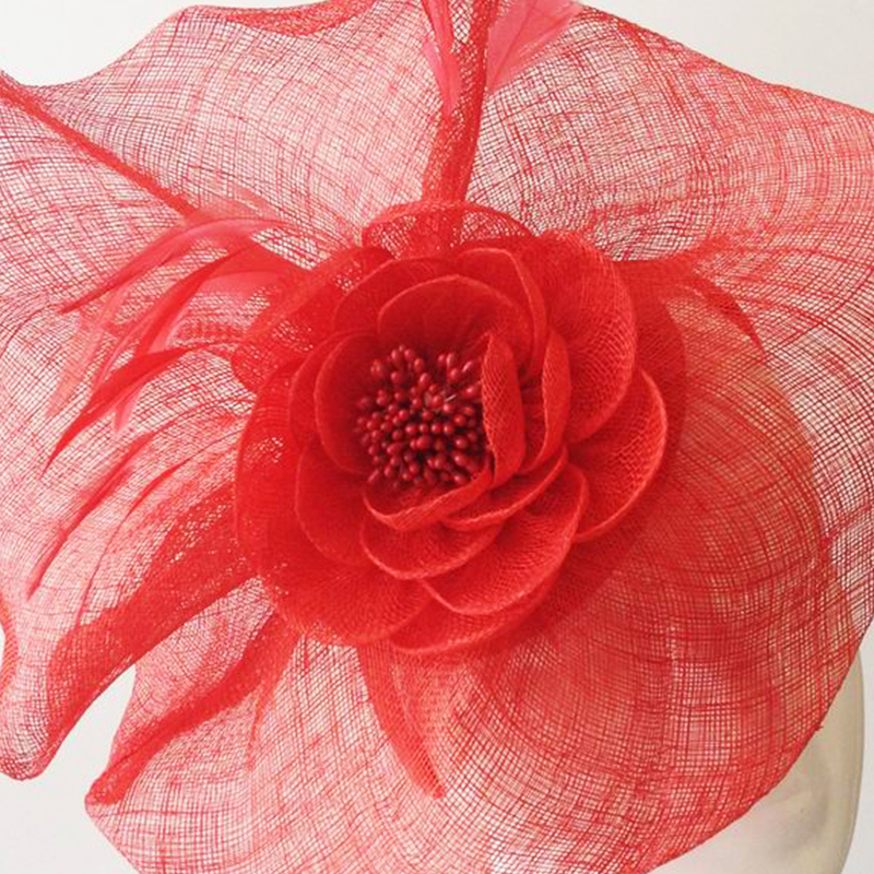 New Ladies Hats Handmade Sinamay Fascinator 2017 Spring Women Flower Hair Ornaments For Girls High Quality Red Feather Hairwear