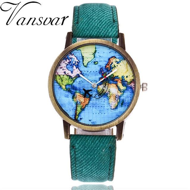 Vansvar Brand Fashion Plane And World Map Denim Fabric Band Watch Casual Women W