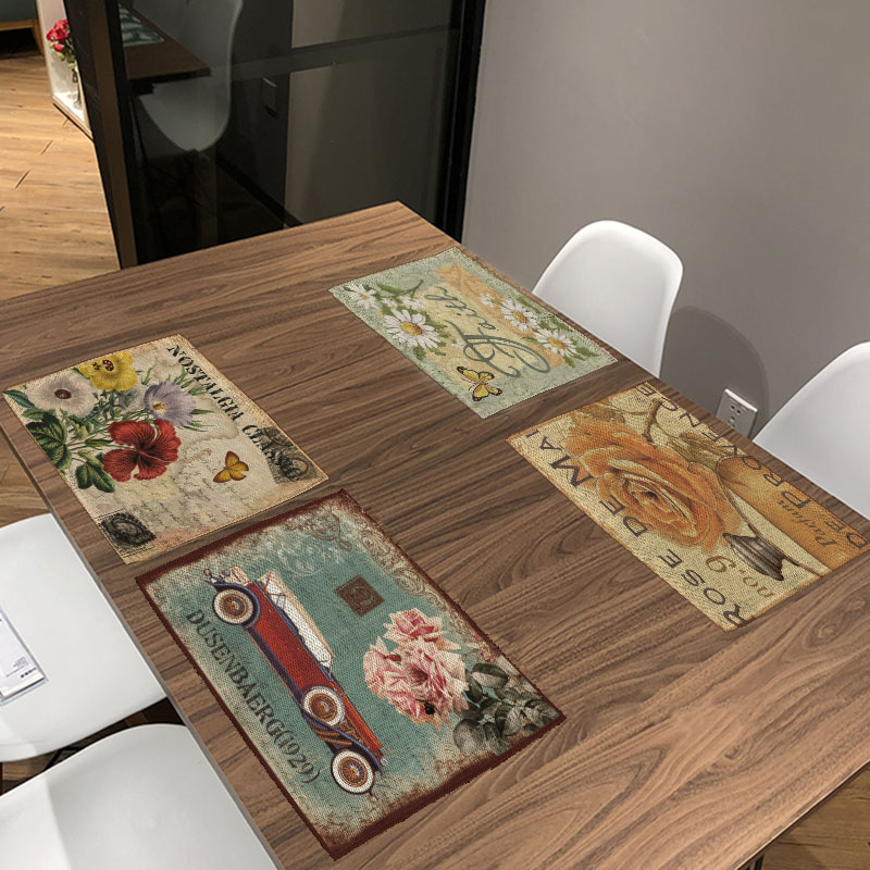 Retro Style Bird Flowers Pattern Table Mat Kitchen Decoration Fashion Place Mat Dining Accessories Table Napkin For Wedding