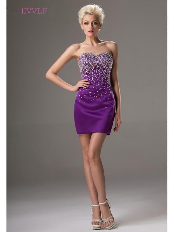 Purple 2019 Cocktail Dresses Elegant Sheath Sweetheart ...