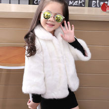 14b96a98d574 Furry 2018 Winter Baby Girls Mink Fur Coat Warm Jacket Snowsuit Outerwear  Children Kids Clothes Fake Fur Midi Overcoats F216