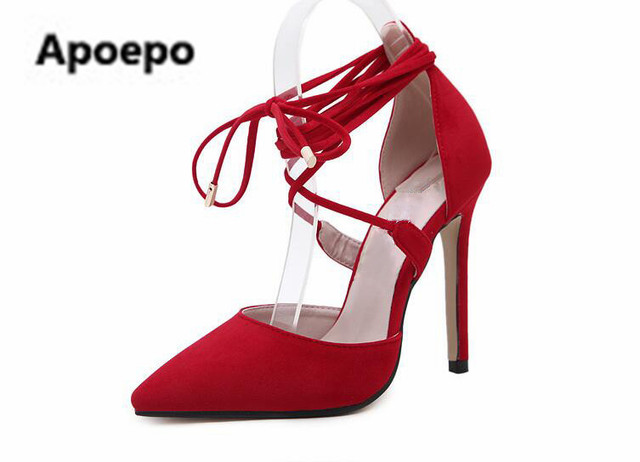 1935c7c09ad9 Selling brand New fashion red lace-up heels sexy pointed toe woman pumps  2017 high quality suede cutouts high heel shoes