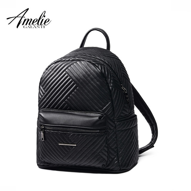 AMELIE GALANTI functional women backpack made of PU with cotton solid bag business hard handle comfortable softback striped 2017