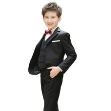Dress Suits Children Formal Boy Child Wedding Suit Blazer Vest Shirt Pants 4 PCS Wedding Boys Suits Marriage Kids Party Clothes недорого