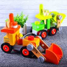 Wooden Disassembly Engineering Truck Assembled Excavator Children Early Education Puzzle Nut Disassembly Combination Toy