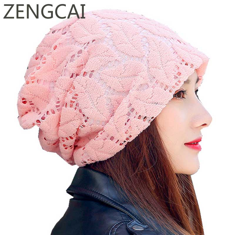 Turban Hat Lace   Beanies   For Ladies Women Autumn Cap Female   Skullies     Beanie   Cotton Knitted Leaves Mesh Baggy Caps Girl Casual Hat