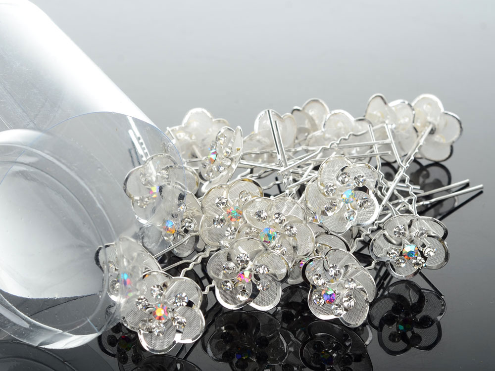 Hair-Pins Flower Clip Hair-Accessories Crystal Rhinestone Wedding-Bridal Silver Women