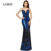 Элегантный Для женщин Длинные Русалка Выпускные платья 2018 Лори блестящие Королевский синий блесток вечернее платье Спагетти ремень халат