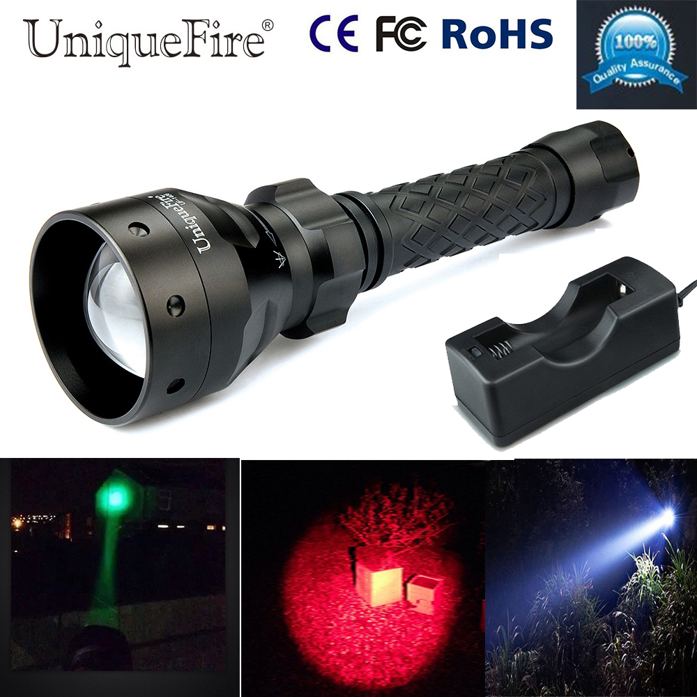 Uniquefire Green/Red/White Flashlight Torch UF-1406 Cree XPE Led Zoom 3 Modes Rechargeable Flashlight Torch+18650 Charger uniquefire portable led flashlight uf 1406 cree xp e zoom 3 modes w g r light rechargeable 18650 flashlight with remote pressure