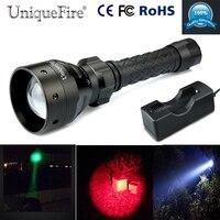 Uniquefire verde/vermelho/branco lanterna tocha UF 1406 xpe led zoom 3 modos recarregável tocha + 18650 carregador|rechargeable flashlight torch|3 mode|flashlight torch -