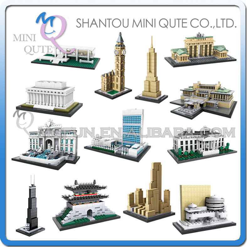 Mini Qute LOZ diamond world architecture Big Ben White House Brandenburg Gate plastic bu ...