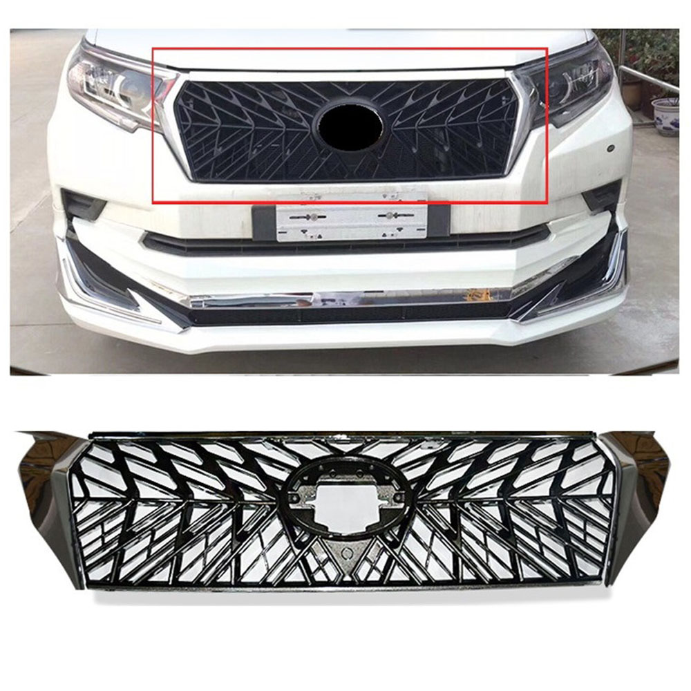 modified FRONT RACING GRILLE GRILLS ABS MASK FIT FOR 2018 PRADO LANDCRUISER 2700 GT GRILL 4X4 AUTO ACCESSORIES CAR STYLING grille