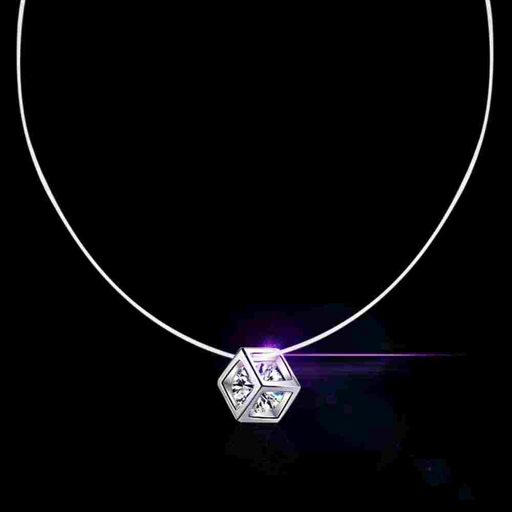 Lowest Price New Fashion 925 Sterling Silver Three Different Necklace For Women Girls Shiny Cubic Zirconia Jewelry Gift