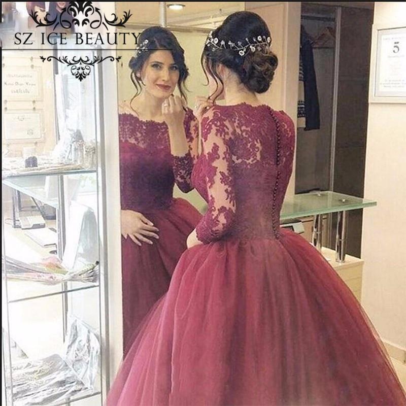 Burgundy Long Sleeve Lace Prom Dresses