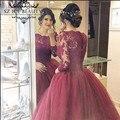 Mangas compridas Borgonha Prom 2016 Sheer Colher Tulle Lace tribunal Trem vestido de Baile vestido de Noite Vestido de Festa Mulheres Vestido De Festa