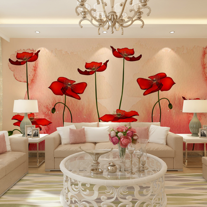 Custom 3d mural wallpaper 3D stereo living room TV sofa background wall European modern minimalist poppy flowers wallpaper mural modern home deco fashion 3d stereo romantic style mural wallpaper for wall dec tv sofa bed background no ai59