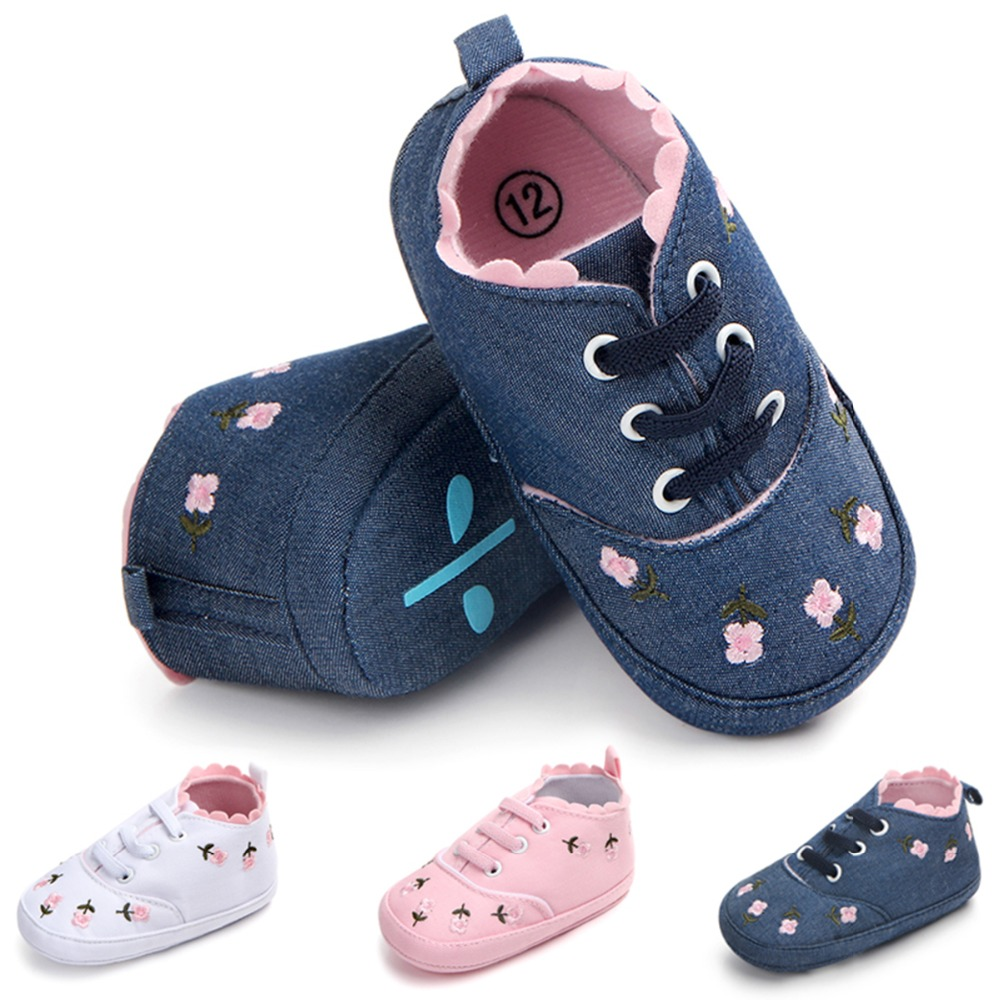 0-12M Baby Girl Shoes White Lace Floral Embroidered Crib Shoes Prewalker First Walkers Walking Anti Slip Sole Toddler Kids Shoes