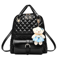 Disom New Design Diamond Lattice Backpacks Famous Brand 2016 Fashion Pu Leather College Style Student Bags