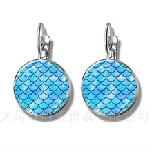 Brilliant Colors Flaky Clouds Pattern 16mm Glass Dome Earrings DIY Creative Silver Plated Stud Earrings For Women(China)