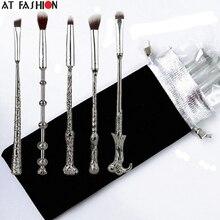 Hot 5pcs Metal Handle Harry Potter Magic Wand Brush Set Mug Wizard Storybook Mugs Cosmetics Makeup New Make Up Brushes with bag