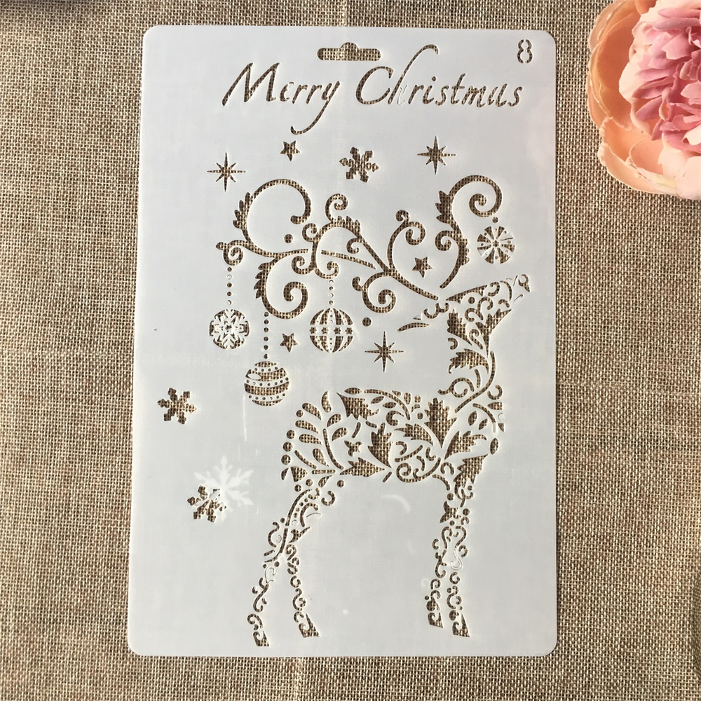 Hot 26cm Christmas Deer Bell DIY Craft Layering Stencils Wall Painting Scrapbooking Stamping Embossing Album Card Template